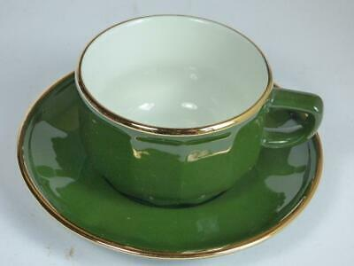 Retro -french Bistro Style- Cup And Saucer - Green & Gold • 2.99£