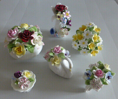 JOB LOT Of SIX ROYAL DOULTON Floral Posy VASES With FLOWERS • 9.95£