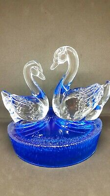 Glass Swans Figurine/ornament By RCR (Royal Crystal Rock) Clear And Blue • 4£