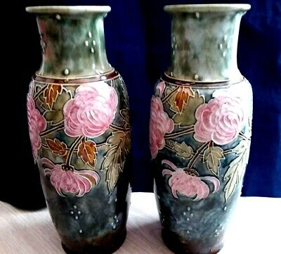 Royal Doulton Stoneware Chrysanthemum Vases Collectible Early XX Home Decor • 145£