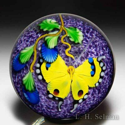 Mayauel Ward 2020 Yellow Butterfly And Blue Flowers Compound Paperweight • 146.59£