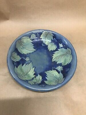 RARE  William Moorcroft Pottery Blue Bramble And Leaves  Bowl Plate Very Rare • 120£