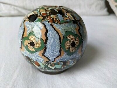 1950s French Vallauris Mosaic Art Pottery Jean Gerbino Flower Ball Vase, Picasso • 4.99£