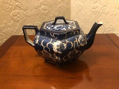 Staffordshire Teapot Blue White Gold Very Pretty Not Sure How Old? • 4.19£
