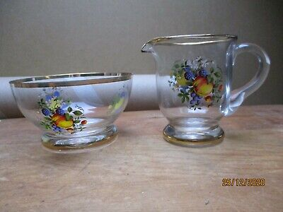 Very  Pretty Glass Milk Jug And Sugar Bowl With A Fruit Design And Gold Trim • 7£