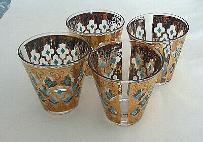 4 Culver Seville OLD FASHIONED ROCKS GLASSES Gold & Turquoise Barware   • 36.57£