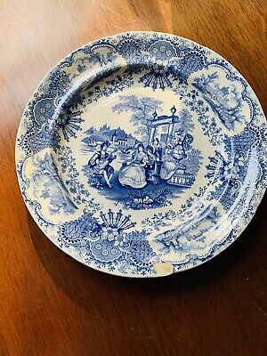 19th Century Deakin & Son Blue And White Plate Spanish Beauties • 10£