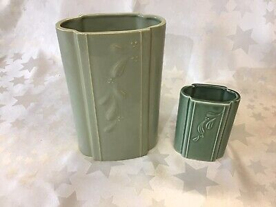 Vintage DARTMOUTH POTTERY 2 X Green Oval Ceramic Vases Flat Sided. • 14.95£