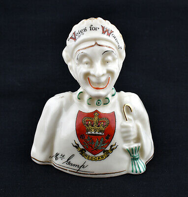 Swan Crested China Double Faced Bust Of A Suffragette * Redcar * • 199.99£