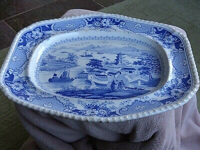 Blue And White Stone China Meat Plate • 14.50£