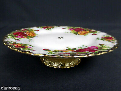 OLD COUNTRY ROSES 16cm 6  CAKE / BISCUIT LOW COMPORT, ENGLAND, ROYAL ALBERT • 6.95£