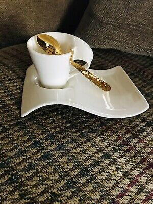 Villroy And Bosch Wave Expresso Cup, Saucer And Spoon • 19.99£