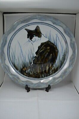 Highland Stoneware Large Hand Painted 35 Cm Bowl - Seated Cat In Grass • 125£