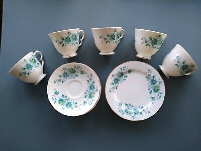 Attractive Queen Anne Bone China Tea Set Pattern 8500 With Blue & Green Flowers • 14.15£