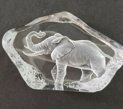 Mats Jonasson Crystal Elephant Etch Signed Paperweight Full Leaded Crystal • 50.64£