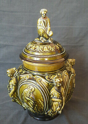 ANTIQUE SARREGUEMINES MAJOLICA FIGURAL MOUNTED JAR Late 19th Century • 10£