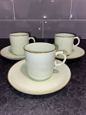 Vintage Bisto Fine China Pale Green Coffee Cups & Saucers X 3. • 5.95£