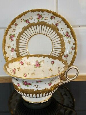 Stunning George Jones Crescent China Porcelain Roses + Gold Gilt Cup And Saucer • 4.99£