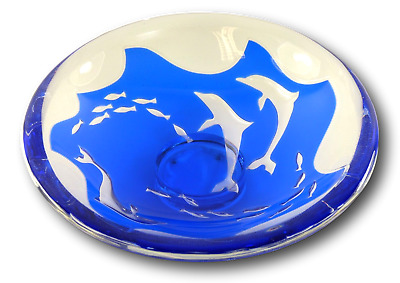 ORREFORS Glass - Olle Alberius - DOLPHINS - Ariel Method Fruit Bowl - 11  • 999.99£
