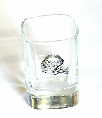American Football Helmet Pewter Emblem  Crystal Shot Tot  Glass Gift Present 003 • 49.99£