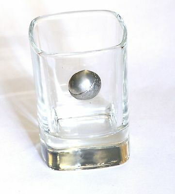 Cricket Ball Pewter Emblem Crystal Shot Tot Glass Ideal Gift Present Award 87 • 49.99£
