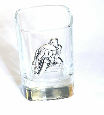 Motorbike #1 Pewter Motif Crystal Shot Tot Glass Ideal Motorcycling Gift  244 • 49.99£
