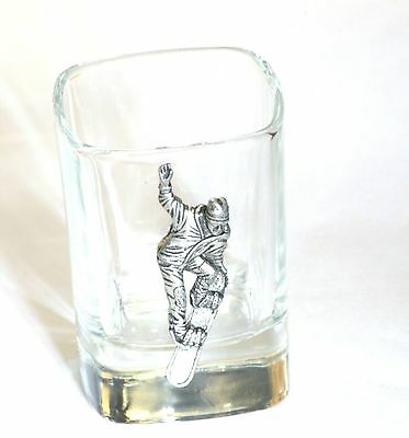 Snow Boarding Pewter Emblem Crystal Shot Tot Glass Ideal Gift Award Present • 49.99£