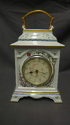 Collectable Franklin Mint  Ceramic MANTLE CLOCK  Birds & Flowers • 25£