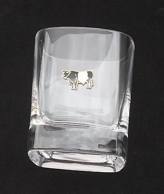 Belted Galloway Pair Of Crystal Tumblers Pewter Motift Presentation Box 032 • 34.99£