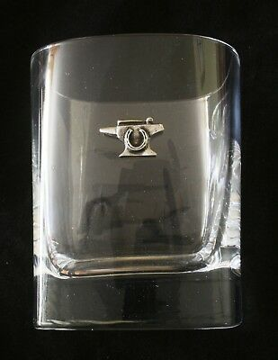 Anvil Pair Of Crystal Glass Tumblers Presentation Boxed Blacksmith Gift 007 • 34.99£