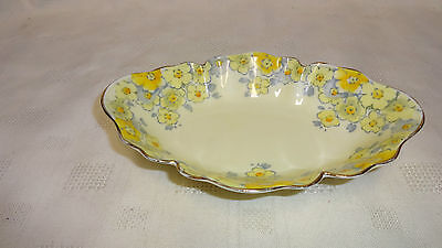 Vintage Attractive Crown Staffordshire Bonbon Dish - Yellow Flowers • 20£