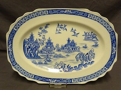 Attractive Vintage Blue & White Myott Son & Co Pagoda Platter - 12  X 8.25  • 14.99£