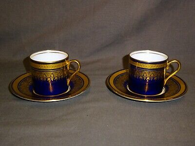 Attractive Pair Of AYNSLEY Simcoe Cobalt Blue & Gold Small Coffee Can & Saucer • 49.99£