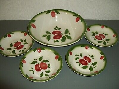 Lovely Ceramic Bowl With 4 Tapas Plates ~ Plum/olive Pattern • 3.99£