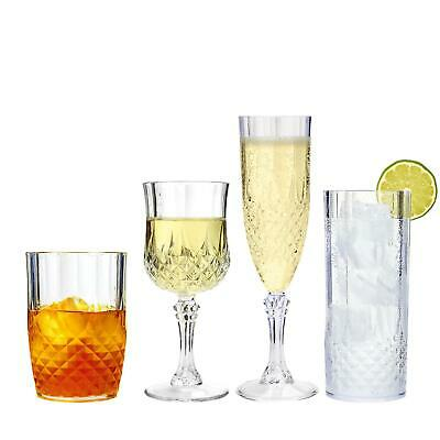 Vintage Clear Crystal Effect Plastic Glasses Drinking Picnic Garden Acrylic • 9.95£