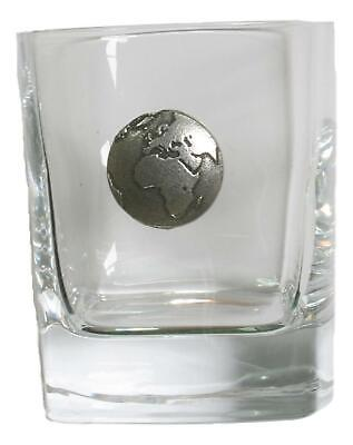 Earth Pair Of Crystal Tumblers Pewter Motift Presentation Box 421 • 34.99£