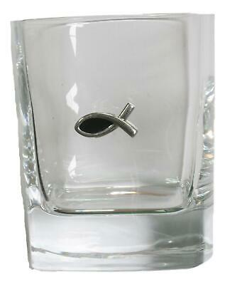 Fish Ichthus Pair Of Crystal Tumblers Pewter Motift Presentation Box 453 • 34.99£