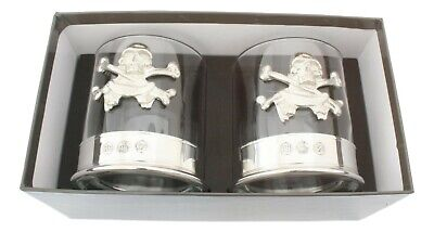 Skull & Crossbones Pair Crystal Tumblers With Pewter Base In Presentation Box  • 39.99£