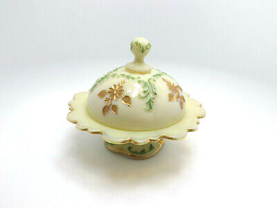 Vintage Hand Painted Floral Gilt Custard Glass Covered Butter Dish, 6 1/2  • 64.46£