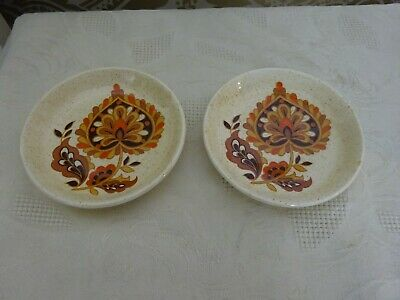 Royal Worcester Palissy Pair Of Decorative Pin Trays Orange Leaves 11cm • 6.50£