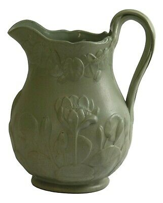 COPELAND - Relief Moulded DRABWARE Jug WATERLILLIES - 8 1/2  Tall - GREEN - 1851 • 149.99£