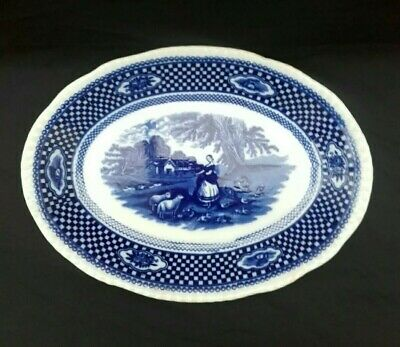 W Adams & Sons Ironstone Oval Platter Blue & White Old English Rural Scenes. • 9.99£