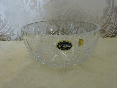 Bohemia Lead Crystal Cut Glass Fruit Bowl 20cm Diameter • 12.50£