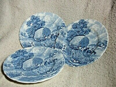 3 H M  Sutherland  Bone China Tea Plates ( Rural Scenes , Blue & White ) 6 1/2   • 15£