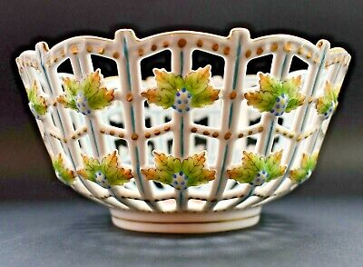 Vintage Herend Hand Painted Porcelain Open Weave Basket 8cm Tall In VGC • 57£