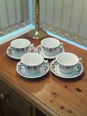 Four 4 Adams Ironstone Old Colonial Cups & Saucers In Excellent Condition • 19.99£