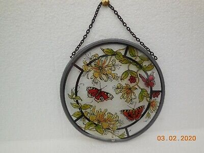 Winged Heart Stained Glass 6  Roundel ~ Butterflies & Flowers ~ 1995 • 12£