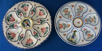 Pair Of  Quimper Oyster Plate Vintage  French Faience Pottery • 35£
