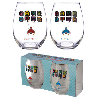 Fun Game Over Gaming Glass Tumbler Set Of 2 • 11.34£