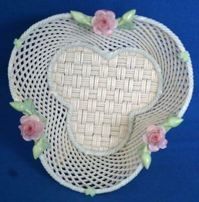 Belleek Irish Porcelain Flower Encrusted  Basketweave Bowl • 49£